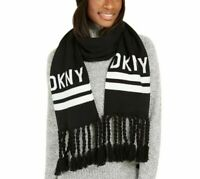 DKNY logo stadium tassel women's winter scarf  - BLACK / WHITE