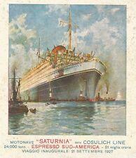 Y0841 Motonave Saturnia - Illustrazione a colori - Pubblicità 1927 - Advertising