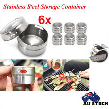 6Pcs Magnetic Spice Tin Stainless Steel Storage Container Jar Clear Lid Set NW
