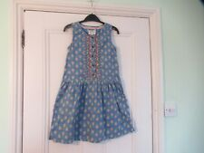 10-11 yrs: FAT FACE summer dress: Blue pineapples: Embroidered top : Good cond