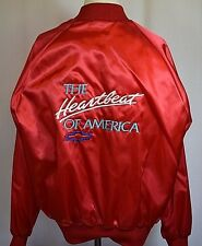 Vintage Red Satin Chevy Heartbeat of America Racing Jacket 2XL XXL Jay
