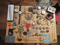 Junk Drawer Lot 14K gold lot sterling jewelry INVICTA watch old marbles CROSS