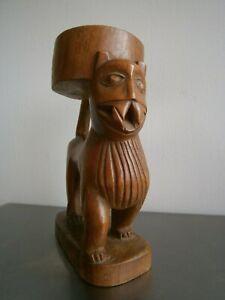STATUE ANIMALIERE AFRIQUE SCULPTURE BOIS DUR ART PREMIER DECO LION SINGE ANCIEN