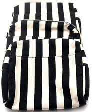 Lot of 3: Lancome Black Stripe Large Cosmetic Makeup Bag w/ Slip Pocket ~ Canvas