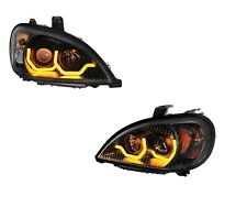 "Pair ""Blackout"" Headlights W/ Dual LED Amber Light Bar for Freightliner Columbia"