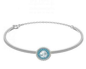 Swarovski Rhodium Plated Pave Crystal Circular Oxygen Bangle Bracelet Blue