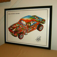 1968 Custom Chevy Camaro Chevrolete Car Racing Poster Print Wall Art 18x24