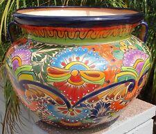 """Talavera Pottery planter Flower Bean pot 13"""" X 18"""" multi color cobalt rim purple"""