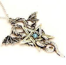 Gothic Dragon Star Pentagram Pewter Crystal Pendant Necklace Forbidden FB7