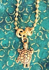 Gold Etched Sea Turtle Necklace. Ocean. Beach. Coast. Summer. Vacation.