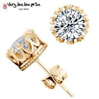 Gold Plated Crystal Round Crown Stud Earrings with Cubic Zirconia