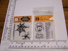 HALLOWEEN SPIDER WEB CARVING PUMPKINS  STUDIO G  CLEAR RUBBER STAMPS RETIRED