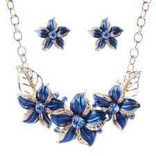Blue Oil drop Royal twisted Flower chandelier bib statement necklace earrings
