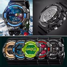 Mens Stainless Steel Digital Date Alarm Waterproof Sports Army Quartz Watch T7