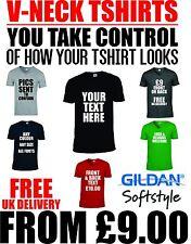 Mens V Neck T Shirts Custom Printing Text Personalised Words & Designs Printer
