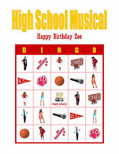 High School Musical Birthday Party Game Bingo Cards