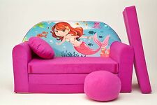 NEW KIDS SOFA BED CHILDS FURNITURE VELOUR COVER + FREE FOOTSTOOL & CUSHION