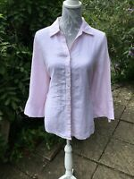 Ladies Marks and Spencer Linen Blouse/shirt size 20-White with a pink stripe ..