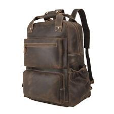 Men Leather Weekend Backpack Travel Bag 16'' Laptop School Bag College Daypack