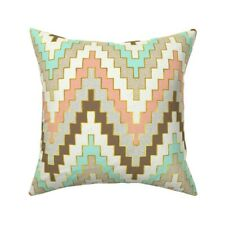 Bright Mint And Coral Chevron Throw Pillow Cover w Optional Insert by Roostery
