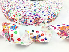 "1"" INCH 25mm PAW PATROL WHITE GROSGRAIN RIBBON 5 YDS DIY HAIR BOWS"