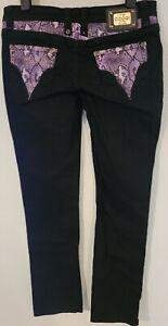 COOGI Black Denim Jeans with Purple Faux Snakeskin Decor Size 9/10 (M. 31x32)