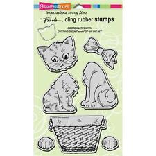New Stampendous RUBBER STAMP set cling JUMBO POP UP KITTIES cats free us ship