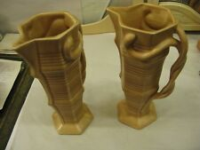 Pair of Art Deco Delcroft Ware 731 England Stamped Antique Pottery Jugs #PO42