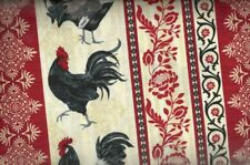 Rooster stripe farm red Timeless Treasures fabric