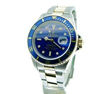 Mens Rolex Submariner Date 18k Yellow Gold Stainless Steel Watch Blue Sub 16613