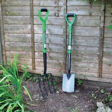 More details for heavy duty garden digging and border spade and fork set stainless steel finish