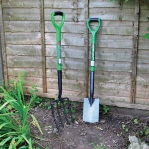 Heavy Duty Garden Digging And Border Spade And Fork Set Stainless Steel Finish