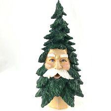 Vtg Dept 56 Santa Face Christmas Tree Wood Carved Resin Retired 9 Inch Tree