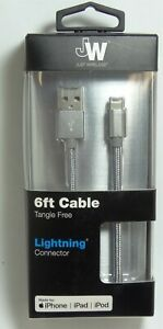 Just Wireless MFi 6' Lightning USB Charging Cable,Slate gray for iPhone 12/11/XR