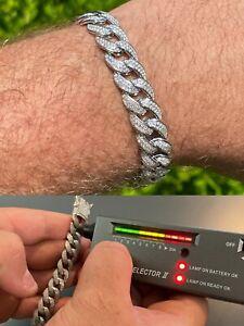 Mens Miami Cuban Link Bracelet Real Iced Moissanite - Passes Diamond Tester 12mm