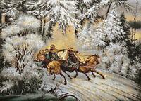 """Russian Winter Troika Woven Gobelin Tapestry Wall Art. 20x28"""""""