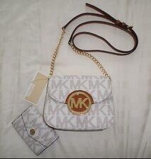 NWT Michael Kors FULTON Small Crossbody & Coin Purse Set MK Sig Logo PVC Vanilla