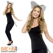 Adult Elephant Kit Ladies Fancy Dress Ears Tail Jungle Animal Costume Accessory