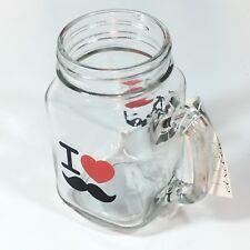 Circleware Mason Jar Drinking Mug 17.5 oz, I Love Mustache / I Heart Mustache