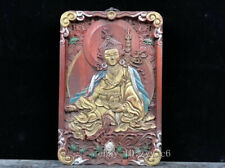 "8.4"" Tibetan Buddhist blood sandalwood carving and painting White Tara Amulet"