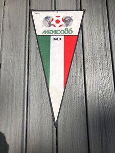 "World Cup Soccer ORIGINAL MEXICO86 Italia Souvenir Pennant 12""x25"""