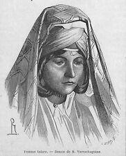 CAUCASE CAUCASUS ARMENIE HAUT-KARABAGH ? FEMME TATARE, HOMME KASAK GRAVURE 1869