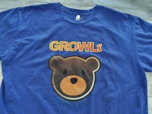 Men's Growlr Made In USA Gay Pride Double Sided Bear Graphic Tee Royal Blue 2XL