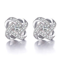 925 Sterling Silver Stud Earrings Crystal Star Shape For Women Fashion Jewelry