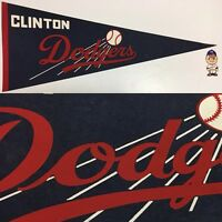 Vintage 1970s Clinton Los Angeles Dodgers California Pennant Iowa Baseball 12x30