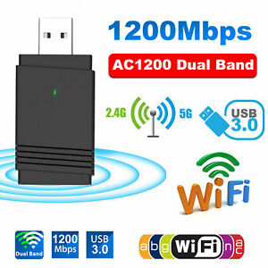 1200Mbps Wireless WiFi Adapter Dongle Dual Band 5G/2.4G PC USB 3.0 Bluetooth 5.0