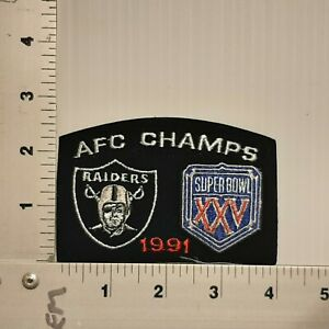 1991 AFC CHAMPS RAIDERS SUPER BOWL XXV VINTAGE EMBROIDERED PATCH (RAIDERS LOST)