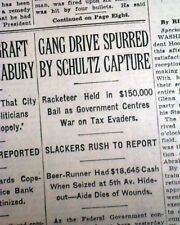 Best DUTCH SCHULTZ New York City Gangster Beer Baron ARRESTED 1931 NYC Newspaper