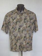 Neiman Marcus 100% Rayon Floral Swordfish Short Sleeve Hawaiian Shirt SZ Large L