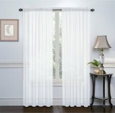 2 Pack: High Woven Elegant White Sheer Curtains - 54 in. x 84 in. (Each Panel)